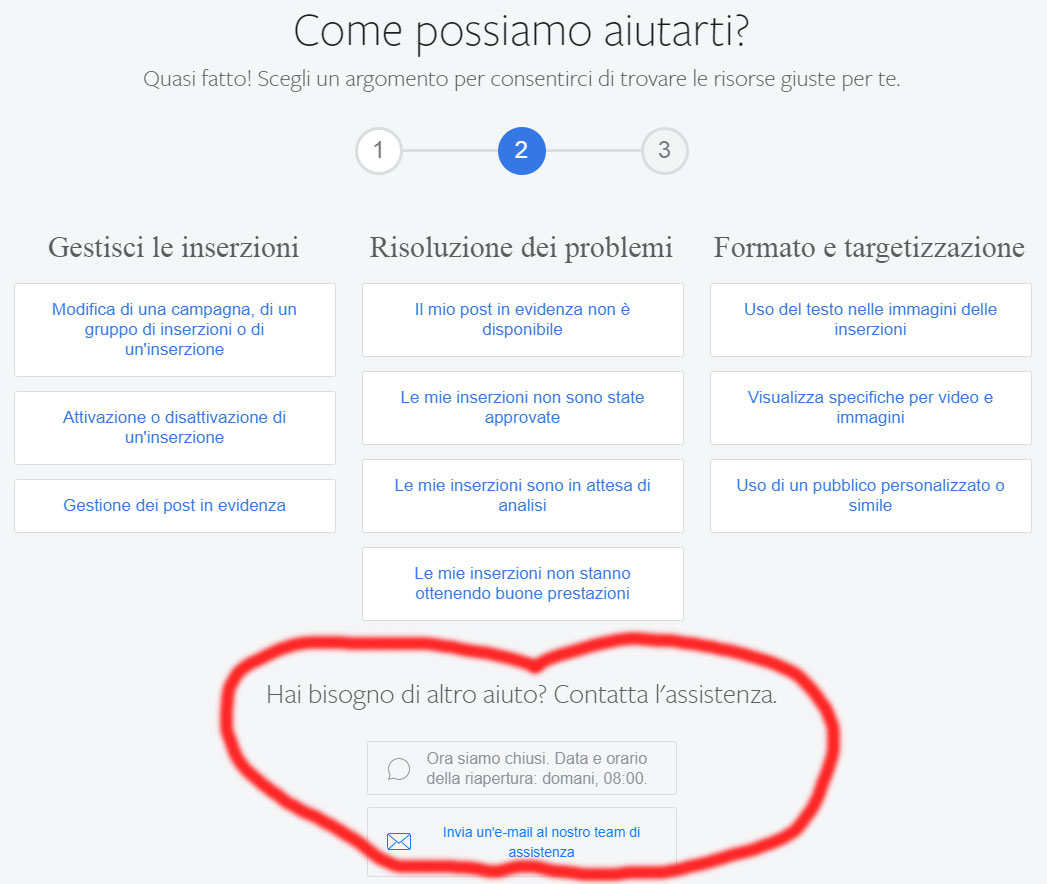Come Contattare l'Assistenza di Facebook via Chat - Step 3